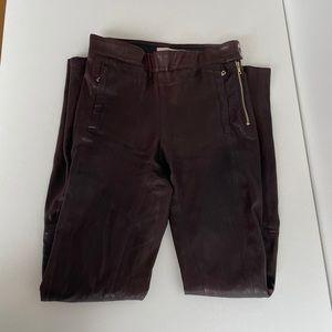 J Brand Burgundy Leather Skinny Moto Pants Legging